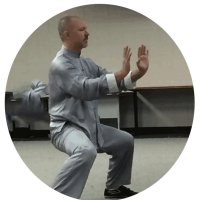 photograph of sifu gideon in a horse stance with arms pushing out